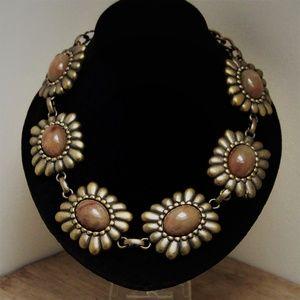 Dramatic Glass Cabochon Brass Statement Necklace